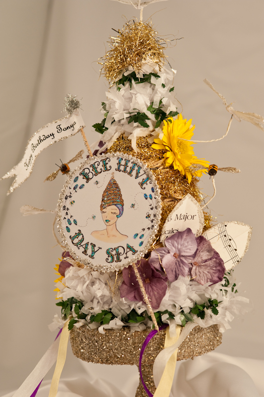 Bee hive day spa birthday hat-1